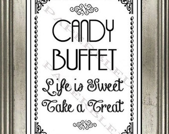 """Party """"Candy Buffet"""" Sign - DIY Instant Printable Download - 8x10 print"""