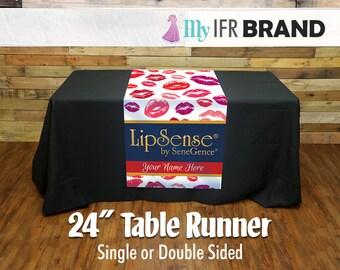 "LipSense Single or Double Sided 24"" Table Runner - Lips"