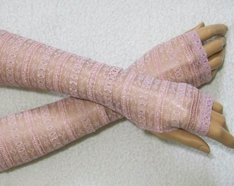 Retro, Lolita, Fingerless Gloves, Powder Pink, Lace, with Thumb Holes. IDEAL for HER