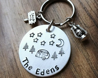 Camper Keychain, Happy Camper, Personalized Keychain, RV Camper, Retro Camper, Hand Stamped, Personalized Keychain, Gift for Camper