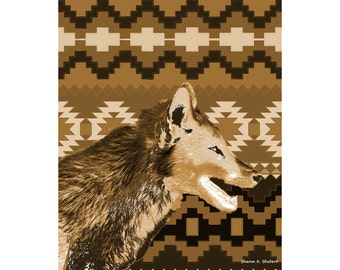 Foxy Brown Fox Art, Southwestern Totem Animal, Abstract Realism, Home Decor, Digital Artwork, Wall Hanging, Brown Tan, Giclee Print, 8 x 10
