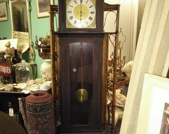 Antique Old Junghans Grandfather Clock Brass Face Tempus Fugit Mahogany Case