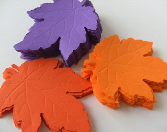 100, orange and purple, Paper leaves, Leafs, leaves, Autumn, Fall, embellishment, Scrap booking,  by DoodleDee2 on etsy