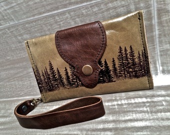Leather Wallet Womens, Phone Case with Wrist Strap & Zipper Pocket Olive / Pine Tree Pattern