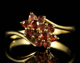 Stunning Garnet 9ct Yellow Gold Cluster Twist Ring
