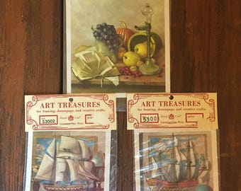 Vintage Art Treasures Print / Wall Art / Wall Hanging / 1970 Cunningham Art Products / Choose One
