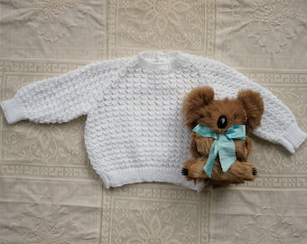Vintage Look New Knitted Sweater for Baby in White