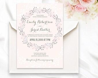 Wreath Wedding Invitation Printable Blush Wedding Invitation Template Summer Rustic Watercolor circlet of flowers Wedding DOWNLOAD Editable