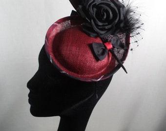 Red hatinator/fascinator with tartan trim. Wedding hat-Races hat-Special occasion hat (HALF PRICE SALE)