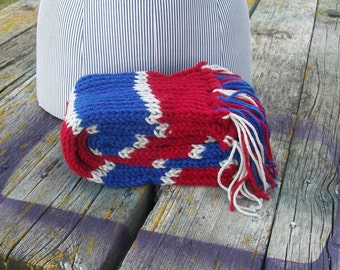 Knitted Red Blue and Silver Striped Long Scarf Ready to Ship