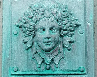 Luna in a Verdigris finish,  classical architectural bronze detail, womens face, reproduction of victorian paperweight, Cast Shadows Studio