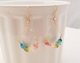 Ombre Quartz Earrings, Rainbow Shaded Quartz Earrings, Quartz Dangle Earrings, Quartz Drop Earrings, Party Earrings, Bradal Shower