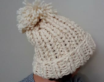 USA Hat - USA Hat with Pom - USA Hat with Pom Pom - Snowboading Hat - Oversized  Hat with Pom Pom - Thick Knit Hat - Fold Up Hat - Slouchy