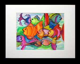 Bright fish swim in a swirly ocean of color in this print from Kimberly Smith's original watercolor. Matted to 11x14, off white (#301/500)
