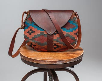 tapestry bag, Leather bag, Brown leather tote bag, leather bag, leather purse, leather handbag Textile-leather bag Caramel