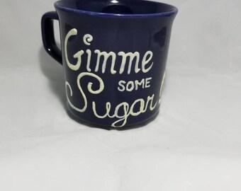 Give me some sugar lips kiss upcycled mug