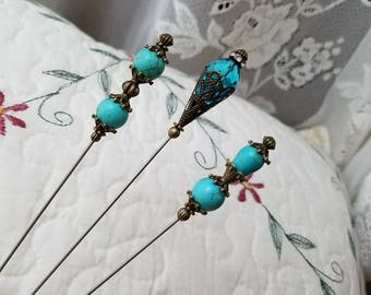 Victorian Antique Inspired Hat Pins. A Mix Of Beautiful Genuine Turquoise Beads & Brass Findings To Display, Sturdy Enough To Use!