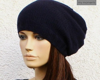 CAP / HAT cashmere / merino navy blue - knit slouch hat
