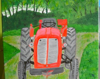 """Painting acrylic painting """"Eternal tractor"""""""