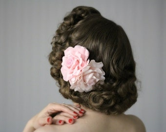 """Pink Rose Fascinator, Blush Hair Clip, Flower Headpiece, Large Floral Hair Accessory, Wedding Hairpiece, Vintage Bride - """"By Any Other Name"""""""