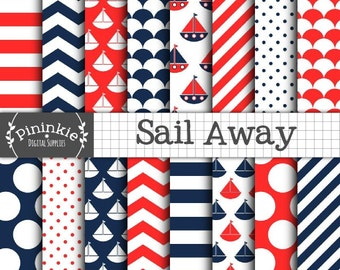 Nautical Digital Paper Pack, Instant Download, Baby Boy Blue and Red Paper, Sailboats, Boats, Polka Dots, Chevrons, Stripes