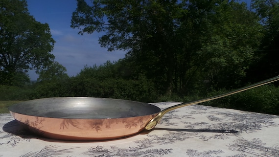 Large French Copper Tin Lined 1.5mm Skillet Saute Frying Pan Cast Bronze Handle France Good Tin Well Used Bent Handle