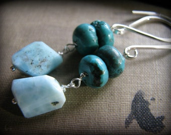 Larimar and Turquoise Earrings Dangle Sterling Silver Fancy Earwires Gift for Mother Daughter Girlfriend Best Friend