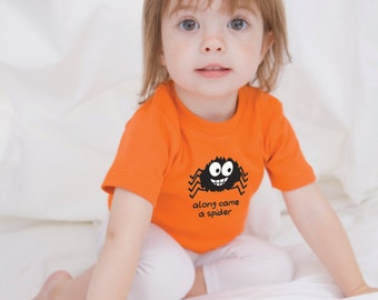 Spider T-Shirt|Spider Top|Bug Clothing|Insect T Shirt|Ethical Clothing|Orange T Shirt|Orange|Kids Clothing|Kids Top| Boys T-Shirt