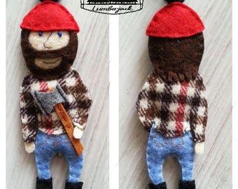 Lumberjack Ornament, Felt Ornament, Handsewn Ornament, Woodland Ornament, Custom Ornament