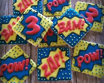 Super Hero Birthday Decorated Sugar Cookies