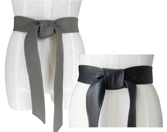 Leather belt - Classic belt - Black lambskin - Grey - Soft Leather Belt - Black Leather Tie Belt - Basic leather Belt - Coat Belt  1 3/4