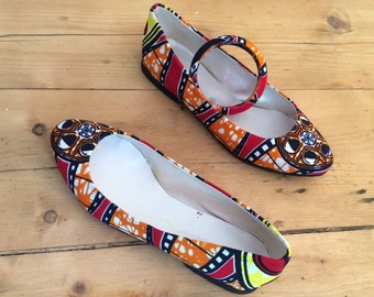 Ballerinas in African fabric (size 37)