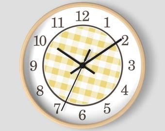 Yellow Gingham Wall Clock - Pattern in Yellow and White with Wood Frame - 10-inch Round Clock - Made to Order