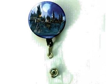 Harry Potter Castle Image Retractable ID Name Holder Badge Reel Clip On Nurse