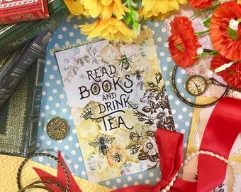 Postcard - Bee Tea and Books