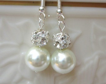 Bridal Earrings of White Pearls Accented with Rhinestone Crystal Balls