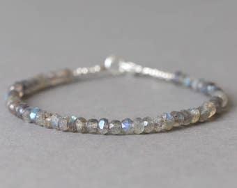 Labradorite Bracelet Gemstone Bracelet Beaded Bracelet Stacking Bracelet Mothers Day Gift