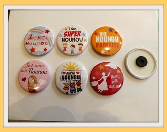"""Magnets, fridge magnets """"special nanny 1"""" round 58mm in diameter, metal"""