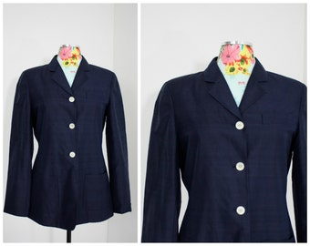 Tommy Hilfiger Navy Blue RAW SILK Fitted Blazer Jacket | 3 Button Fully Lined Womens Sm Med | 34-36 Bust | Spring Fashions Nautical Style
