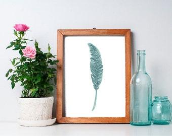 Feather Print  - 8x10 Art Print,  Home Decor, Printable Art, Green, Wall Art, Nursery Art, Nursery Decor, Wall Art