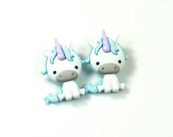 Unicorn earrings, Unicorn studs, Lucky horse earrings