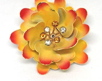 Coro Signed  Rhinestone Yellow Red Enamel Flower Brooch