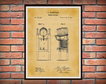 Patent 1876 Beer Cooler Design Art Print Poster - Man Cave - Wall Art - Bar Art - Alcohol Keg - Beer Keg - Beer Brewing