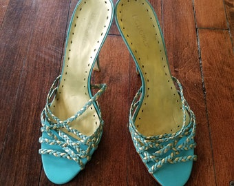 BCBGirls Slipper / Blue Sandals w/ Braided Detail / High Heel Slip-ons / Women's /BCBG Open Toe Shoes / Backless Leather Pumps/ Size 9B/ 39