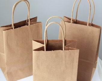 Recycled Kraft Handle Bags Lot of 12  8x 5 1/4 x 3 1/2 inches-  As Seen In Better Homes and Gardens Food Gift Magazine