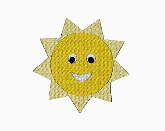 Sun machine embroidery design in multiple sizes.  INSTANT DOWNLOAD