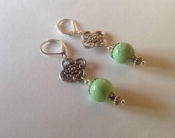 Green drop earrings long earrings drop earrings green earrings dangle earrings