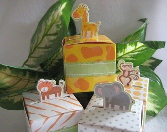 Sale 12 pcs Assorted Animal Party Favor Boxes, Monkey, Elephant, Tiger, Giraffe for Zoo, Safari Theme, Birthday, Baby Shower Favors