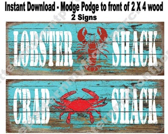 Printable 3 1/2 X 10 inch Signs to Decoupage to Front of a Wooden Block  , Lobster and Crab Shack , SOOO..... EASY  anyone an make these