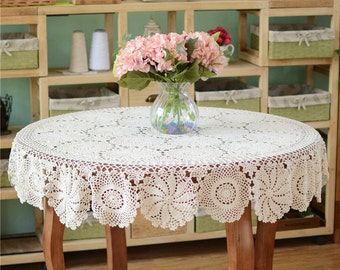 Size options ~ Country living style round floral tablecloth, hand crochet table cover, nice crochet table linen ~ Gift for Mom